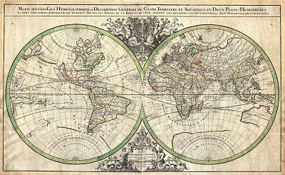 Decorative maps of the world from the french cartographers nicholas decorative maps of the world from the french cartographers nicholas sanson and alexis hubert jaillot published gumiabroncs Image collections