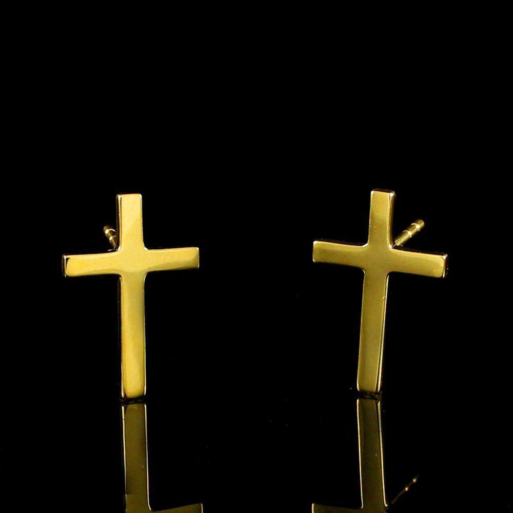 18K Yellow Gold Plated Tiny Cross Stud Earrings #findingsnjewelry #CrossStud