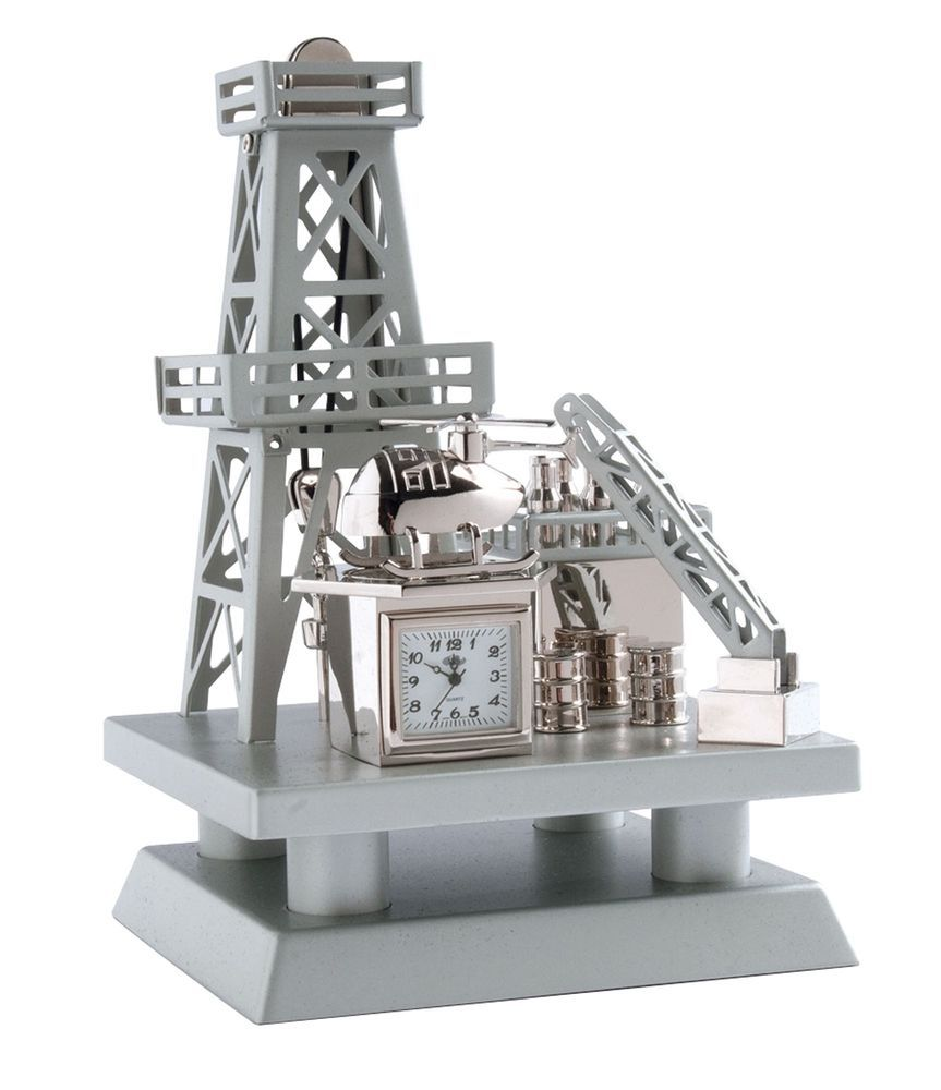 Oil Well Offshore Rig Drilling Miniature Desk Clock ...