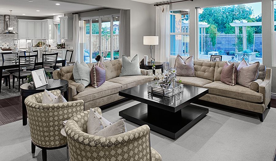 An open floor plan makes entertaining easy in this elegant Mountain House, CA, home   Chantel plan by Richmond American