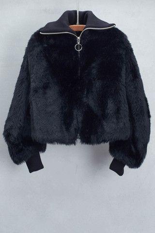 Black Bomber Jacket By Hache Shopheist Com Black Faux Fur Jacket Fur Jacket Outfit Fashion