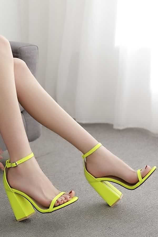 e9c6b096524 Women Neon Yellow Ankle Strap Open Toe Chunky Heel Sandals - 6 in ...