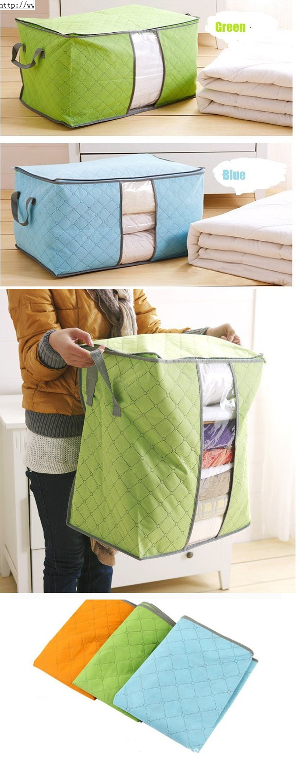 High Capacity Clothes Quilts Storage Bag Folding Organizer Bags Bamboo Portable Storage Container Quilt Storage Portable Storage Bag Storage