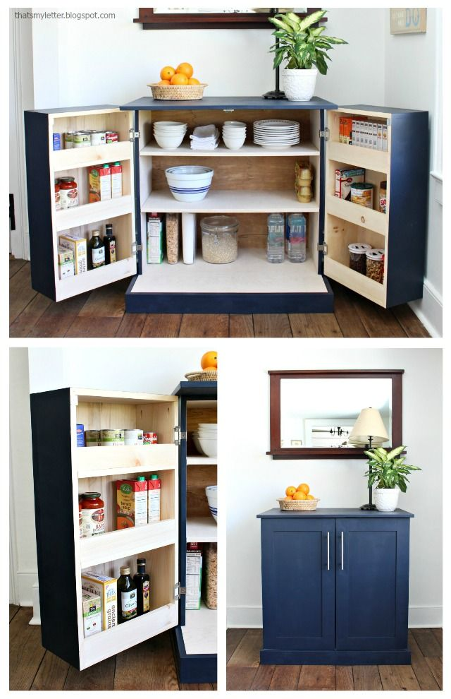 Diy kitchen pantry cabinet with storage and counter space also freestanding cabinets