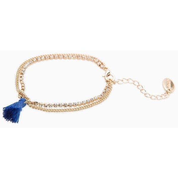 Rhinestone Chain Bracelet (£4.99) ❤ liked on Polyvore