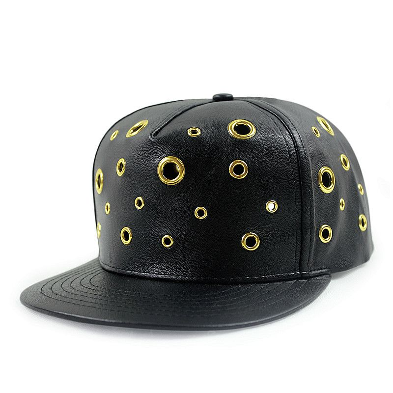 Black hip hop baseball cap studded metal holes snapback hats for sale online 150905f483cd
