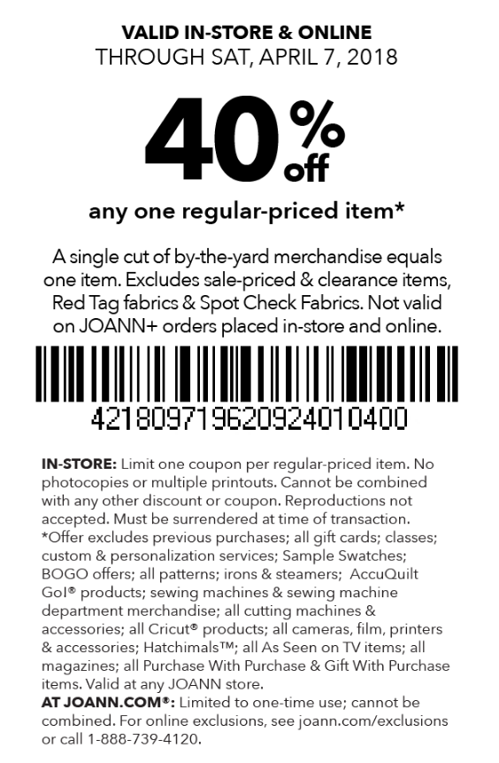 photo regarding Home Goods Coupons in Store Printable called Joann Coupon: 40% Off Just one Month to month Priced Merchandise (In just-Shop