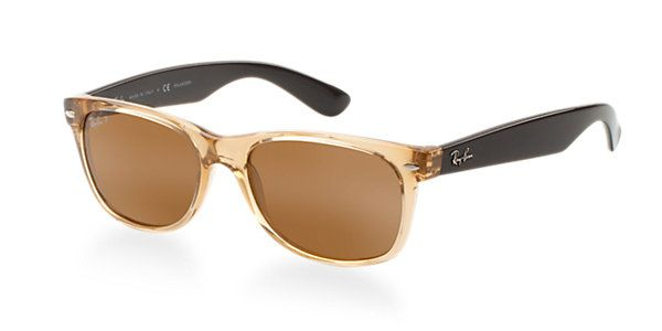 3d6f53a047 Ray-Ban RB2132 Polarized New Wayfarer Sunglasses 55mm Clear Brown ...