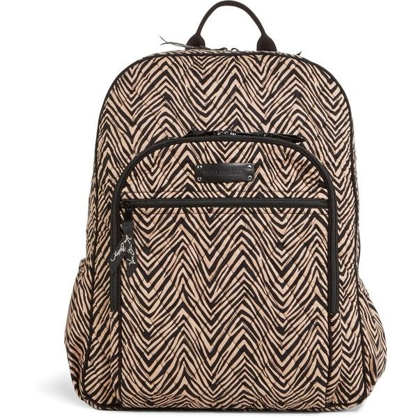 Vera Bradley Campus Backpack in Zebra ( 109) ❤ liked on Polyvore featuring  bags, 9bebebf4f0