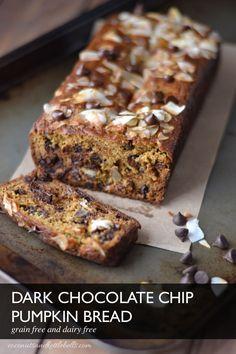 Dark Chocolate Chip Pumpkin Bread (It's paleo, gluten-free, and dairy-free!)