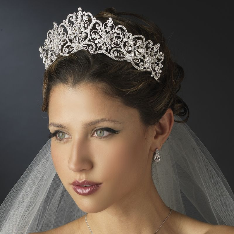 Regal Silver And Clear Rhinestone Fl Bridal Tiara Specialoccasionsforless
