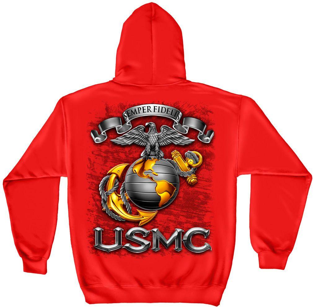 USMC Marine Corps Semper Fidelis Red Sweat Shirt with Hood Eagle Globe Anchor