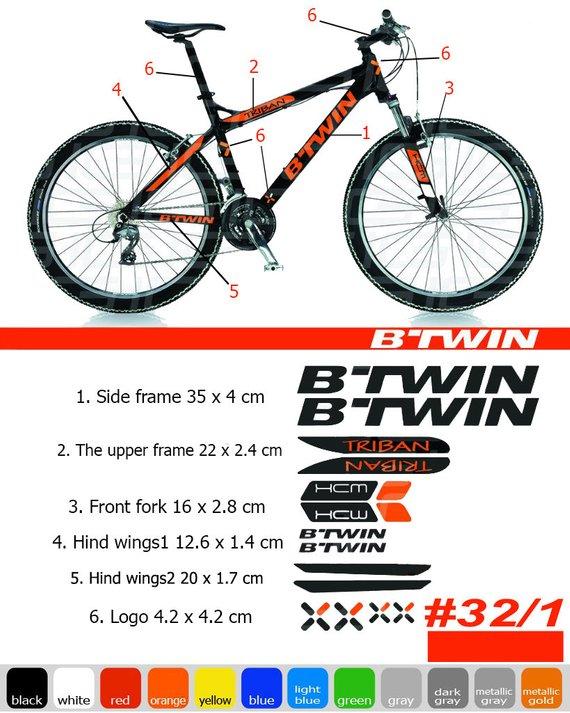 5b60652f1 BTWIN rockrider sticker bike frame autocollant btwin bicycle mountain  Sticker MTB BMX The frame fron