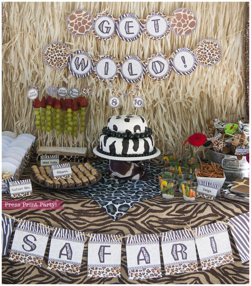 Safari Party Printables - Animal prints - Party supplies and decorations - African / Zoo by PressPrintParty on Etsy https://www.etsy.com/listing/195082223/safari-party-printables-animal-prints