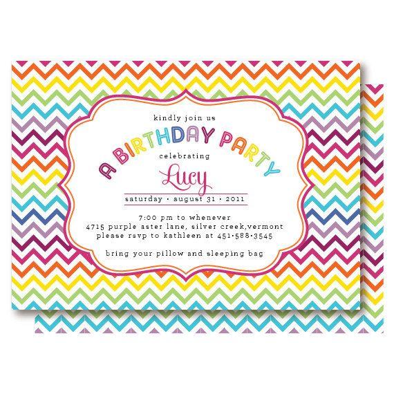 rainbow chevron birthday invitations on etsy 20 00 e s birthday
