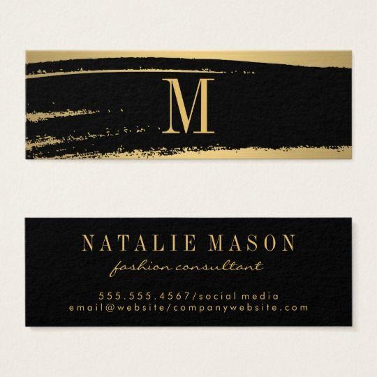 Modern Minimalist Monogram On Black Gold Brushed Mini Business