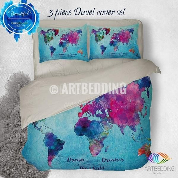 Watercolor world map bedding boho chic blue world map duvet cover watercolor world map bedding boho chic blue world map duvet cover set paint splashes gumiabroncs Choice Image