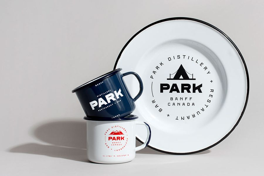 Branded enamelware for Canadian restaurant and distillery Park by Glasfurd &…