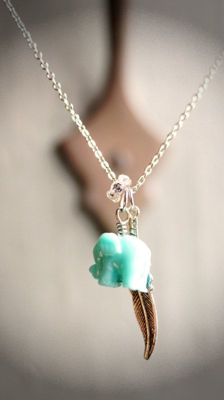 ♦ Mint green baby elephant necklace, delicately hangs from a silver chain, beautifully adorn with a tribal brass feather and swarovski element crystal charm. Dainty and perfectly chic for everyday layering.