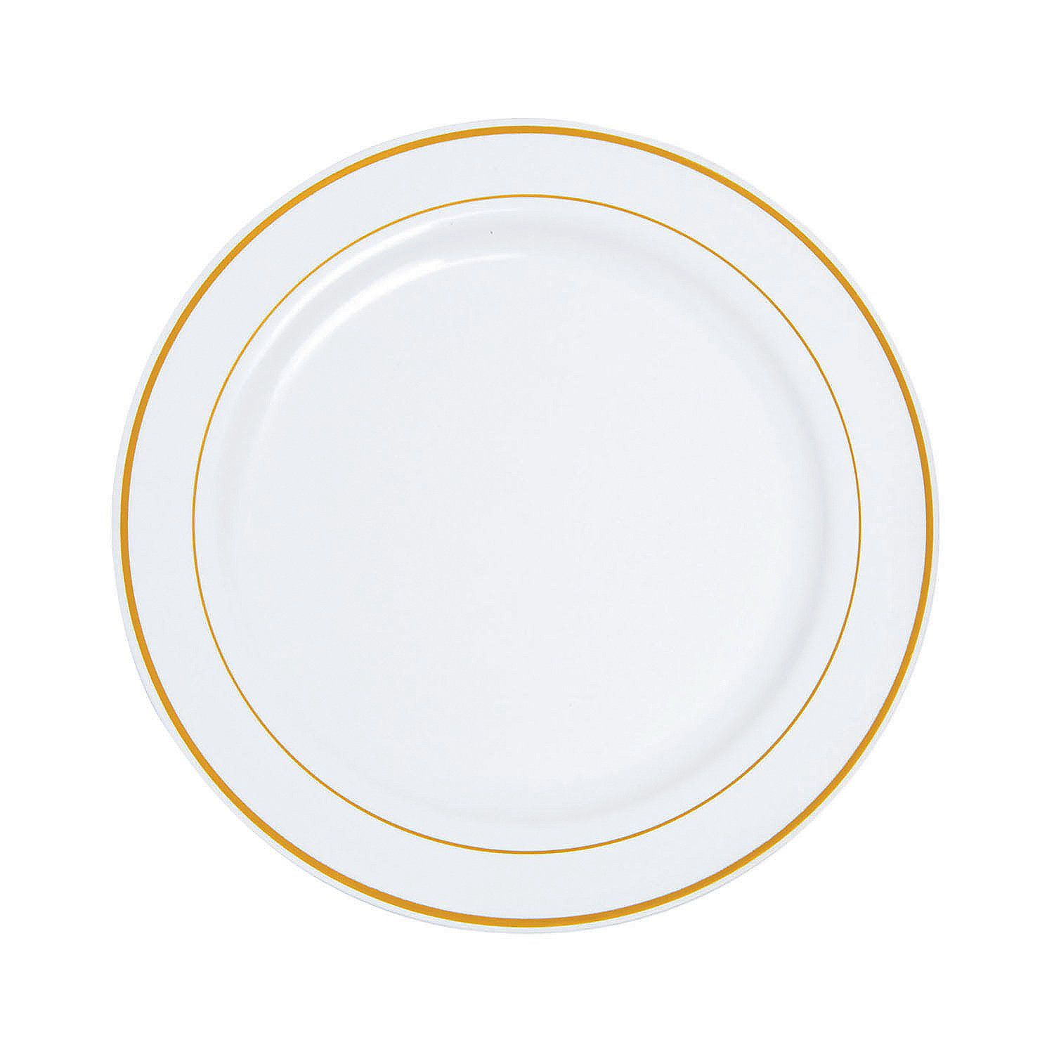 10 Premium White Plastic Dinner Plates With Gold Trim 25 Ct Clear Plastic Plates Anniversary Dinner White Baby Showers