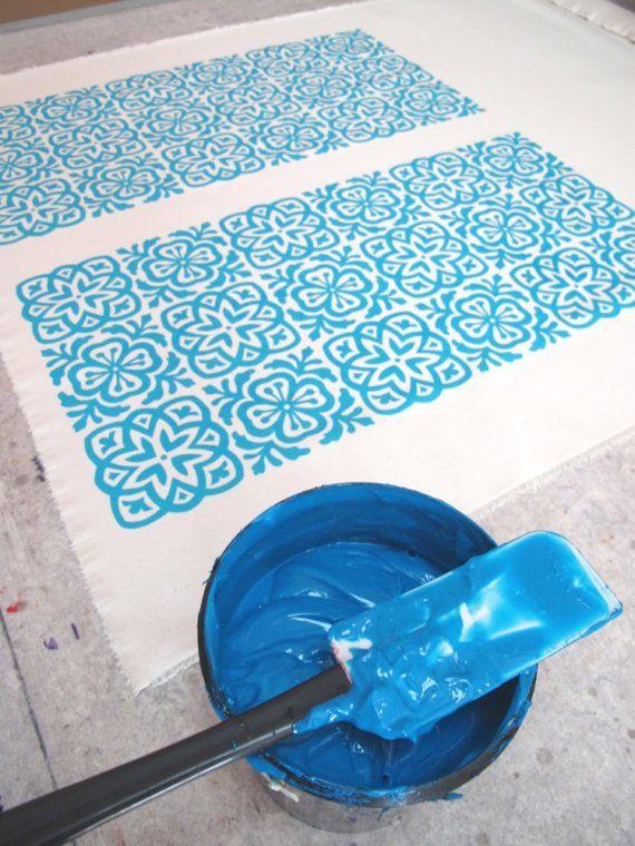 moroccan tile hand screen printed fabric fat quarter stoffe stoff bedrucken und bedrucken. Black Bedroom Furniture Sets. Home Design Ideas