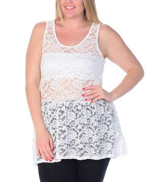This Celeste White Lace Tank - Plus by Celeste is perfect! #zulilyfinds