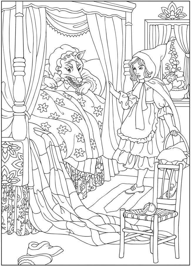 Grootmoeder... | Sprookjes Kleurplaten | Pinterest | Märchen ...