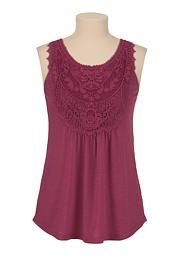 Crochet front button back tank - maurices.com