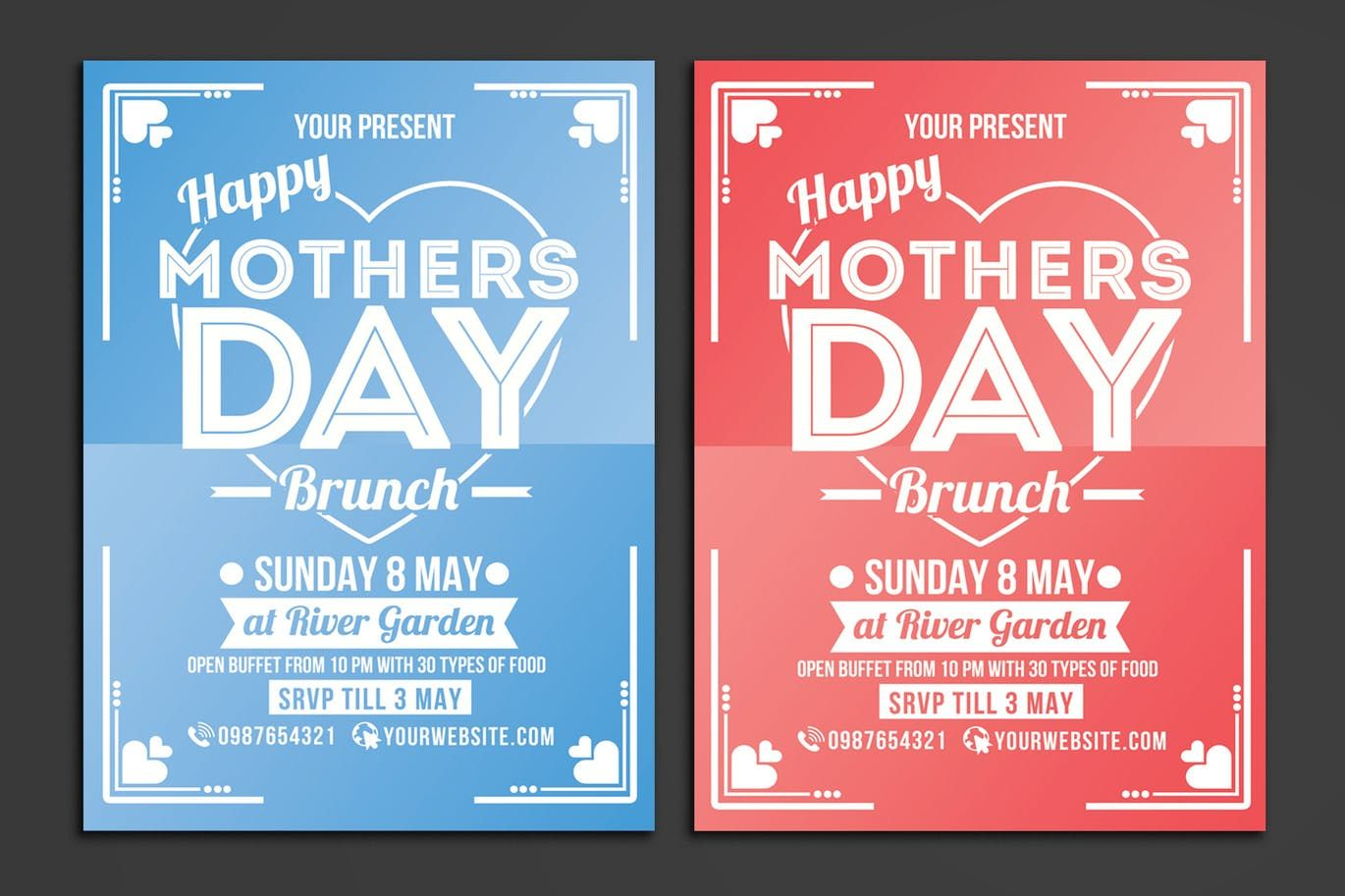Poster design template psd - Mothers Day Brunch Flyer Poster Template Psd