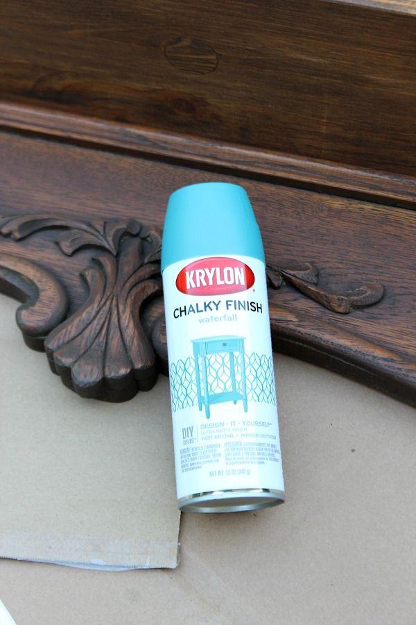 Repurposed Shelf With Krylon Chalky Spray Paint Painting Furniture Diy Diy Painting Diy Furniture