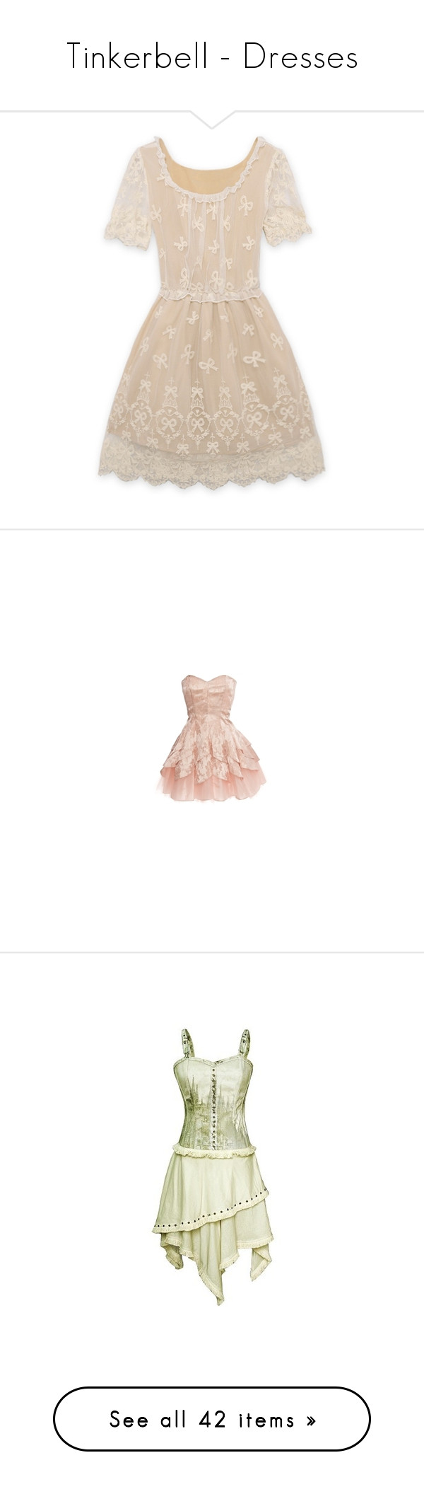 """Tinkerbell - Dresses"" by bbnncc12 ❤ liked on Polyvore featuring dresses, vestidos, lace, flower dress, blossoms dresses, pink embroidered dress, pink lace dress, bow tie dress, short dresses and vestiti"