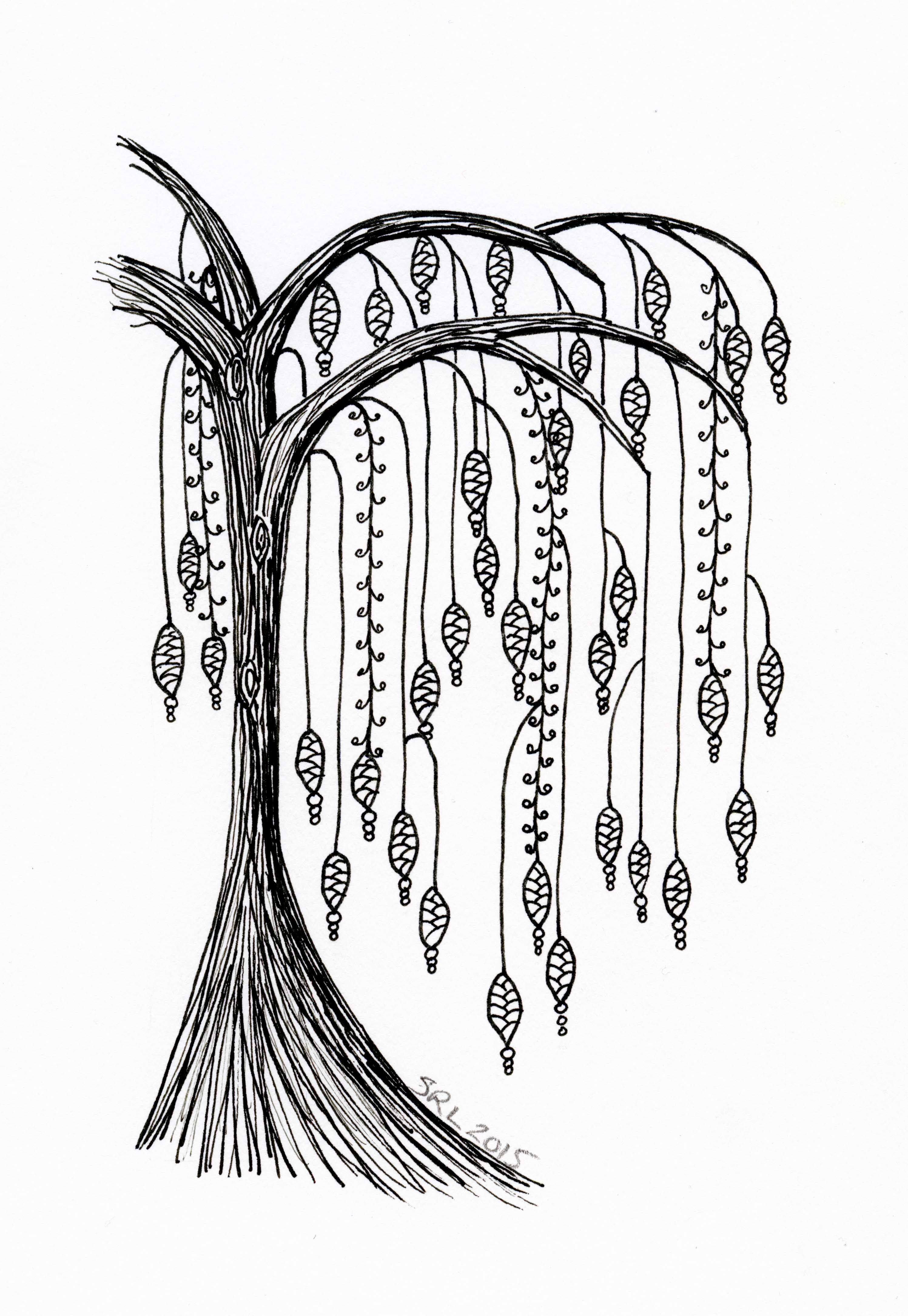 Willow tree with dangles Zentangle by Sandy Rosenvinge