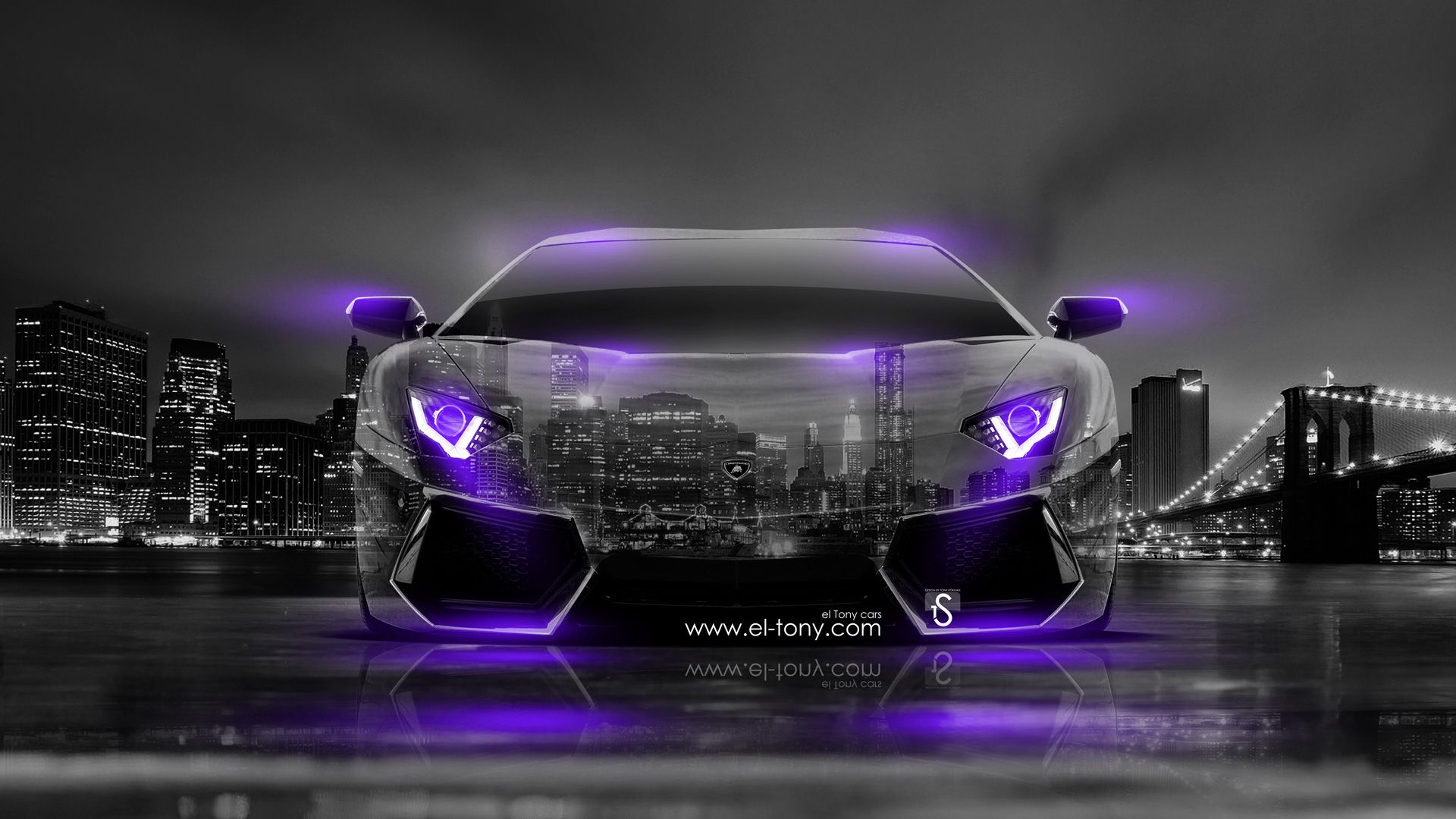 Black Lamborghini With Neon Blue Lights | Lamborghini Aventador Front  Crystal City Car 2014 Violet Neon Design .