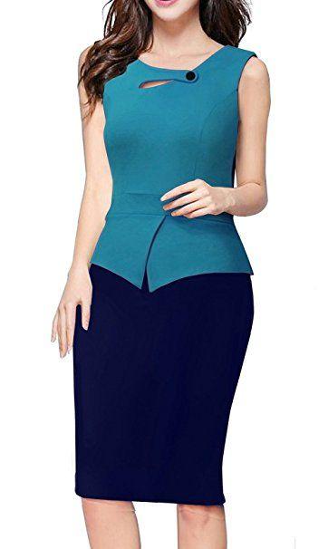 1ba2402c4589 Merope J Womens Floral Patchwork Peplum Sleeveless Summer Office Work Dress  at Amazon Women's Clothing store: