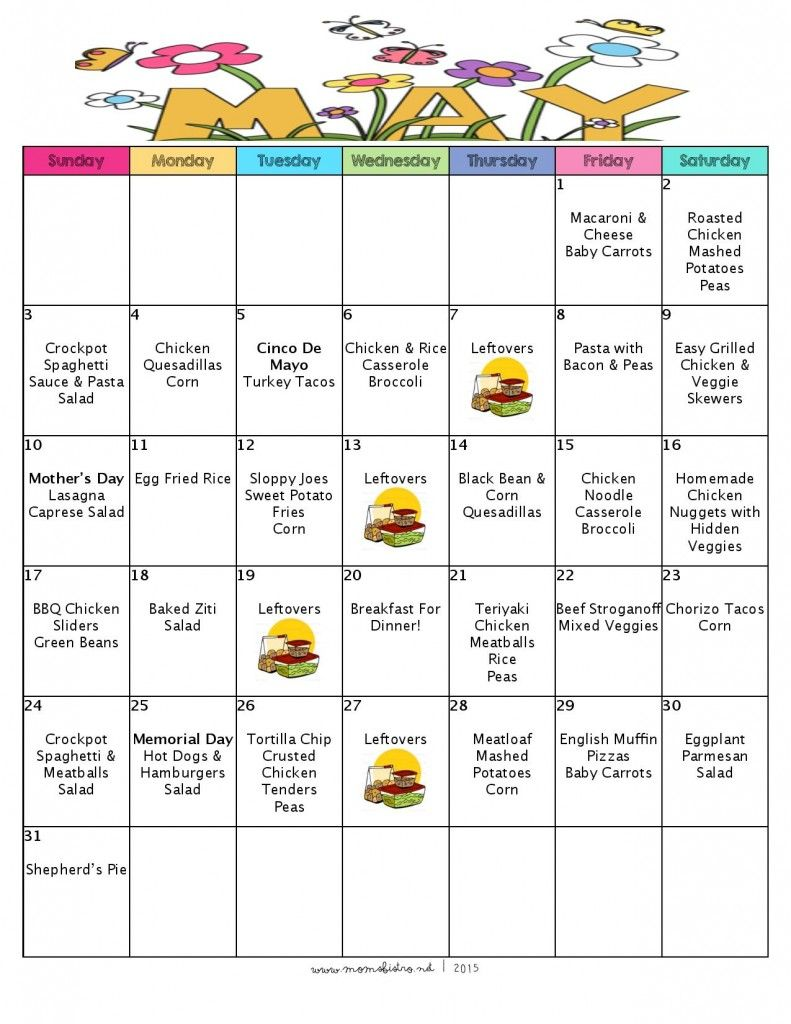 May Calendar Special Days : Free printable menu and grocery list a month of meal on