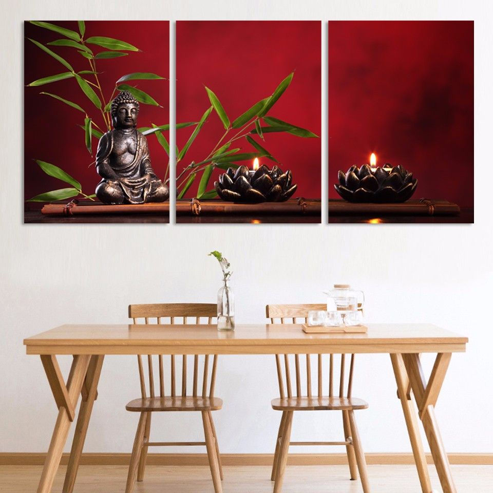 Stunning Red Zen Buddha Wall Painting (Unframed, 3 Panels)    https://zenyogahub.com/collections/meditation-collection/products/abstract-printed-hotoke-buddha-wall-painting