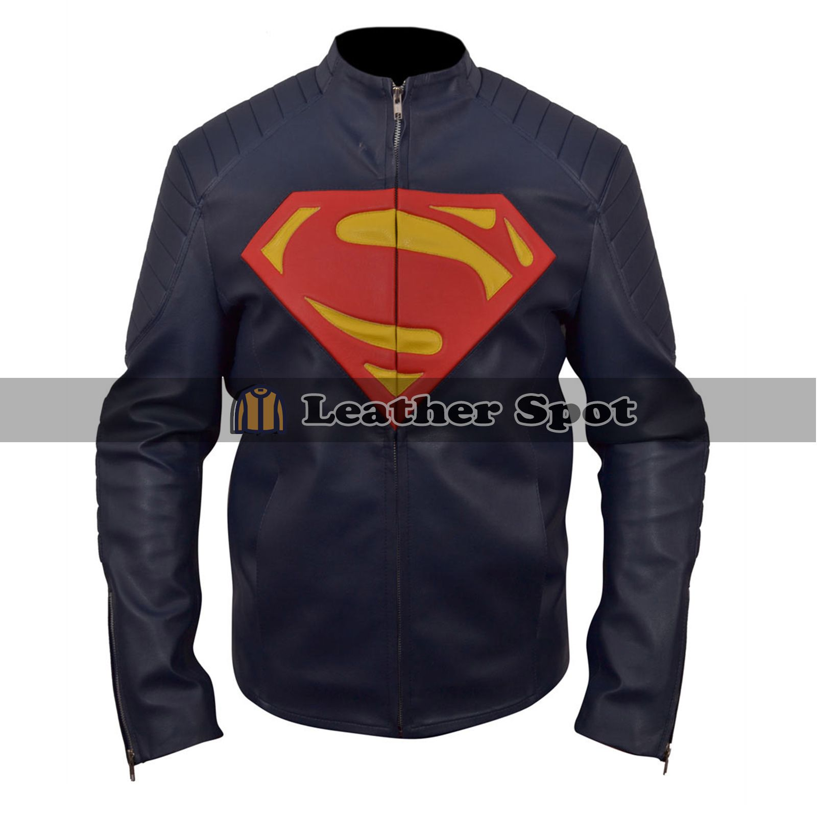 Smallville Superman Logo Biker Style Blue Leather Jacket