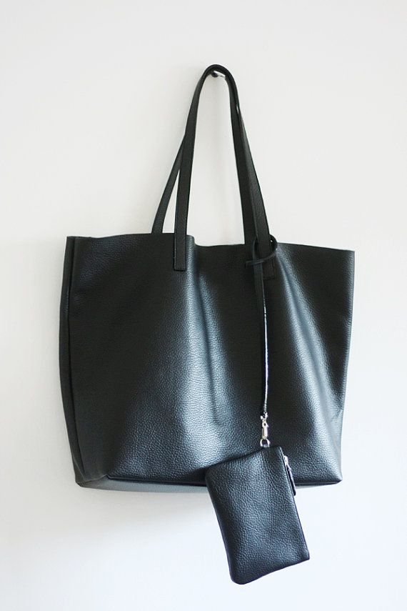 LILA Large Everyday Black Leather Tote Bag by MISHKAbags on Etsy ... 98a4362994