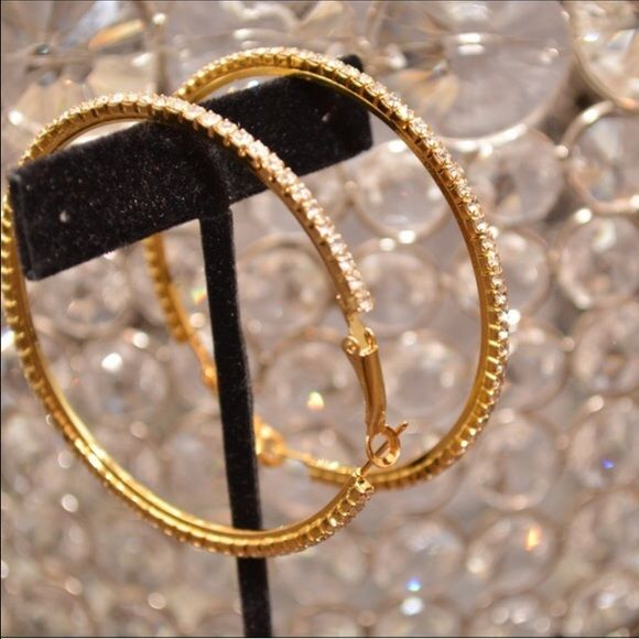 Gold Rhinestone Hoop Earrings 3 W Very Sparkly Photos By Farah
