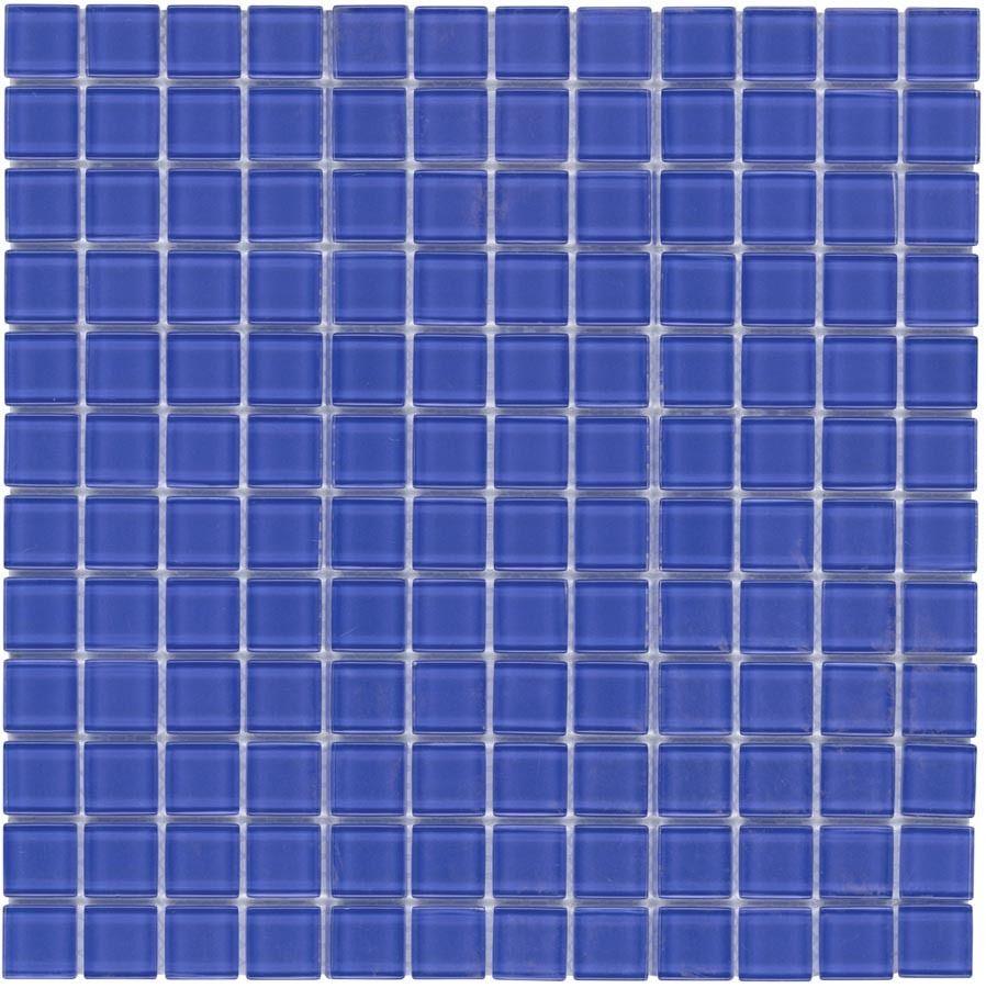 Mineral Tiles - Glass Mosaic Tile Backsplash Royal Blue 1x1, $9.95 ...