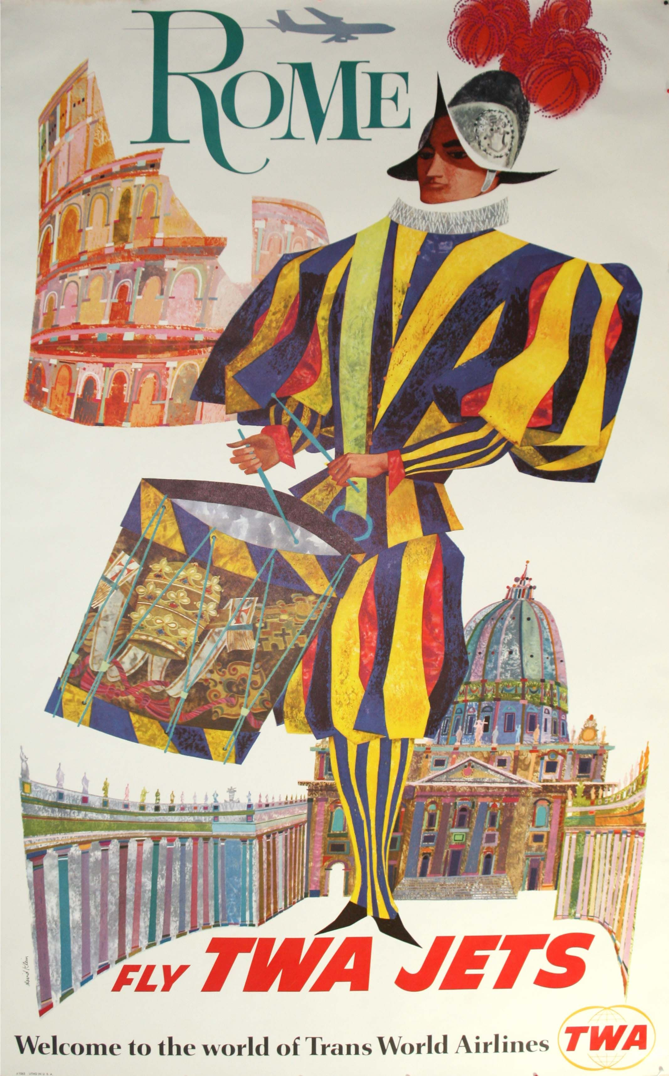 Rome Fly TWA, 1960 - original vintage poster by David Klein listed on AntikBar.co.uk