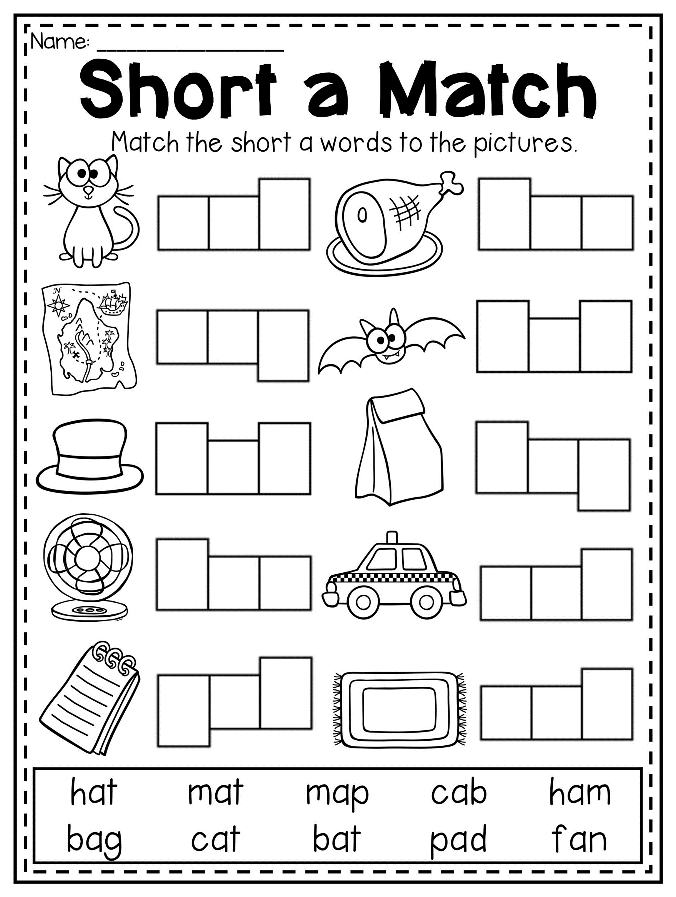 Short Vowel Coloring Worksheet