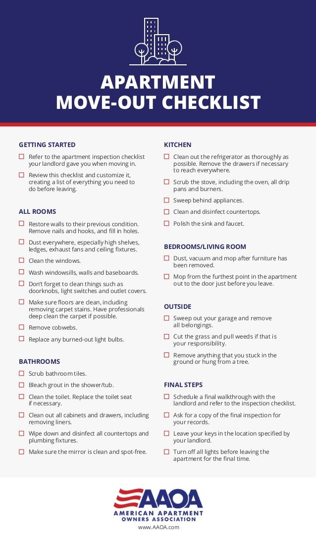 Aaoa Apartment Move Out Checklist Getting Started Refer To The Inspection Your Landlord Gave Y