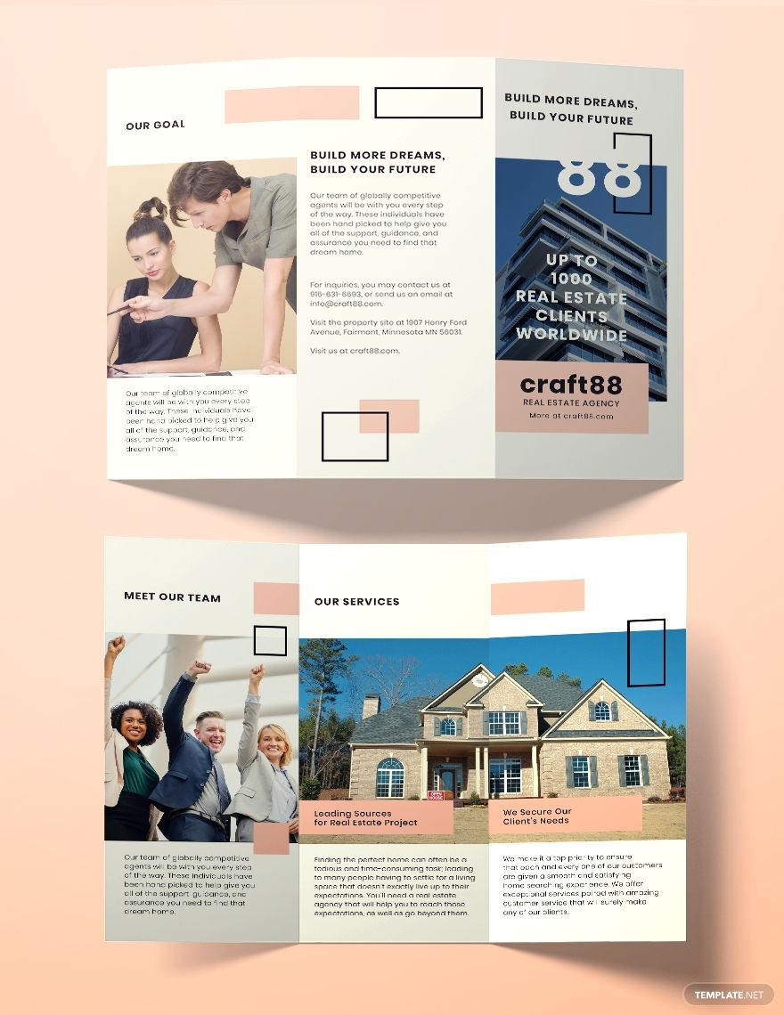 Free Real Estate Agency Brochure Template Word Doc Psd Indesign Apple Mac Pages Illustrator Publisher Real Estate Flyer Template Real Estate Brochures Real Estate Agency 4 page real estate brochure template