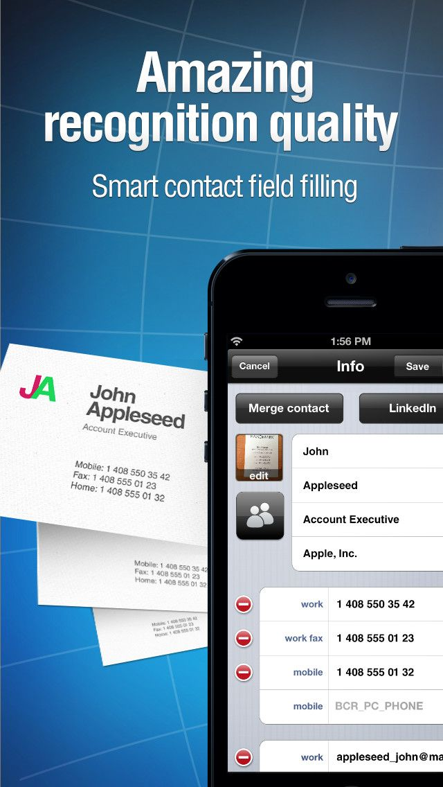 Instant Recognition Of Business Cards Right On Your Iphone Import