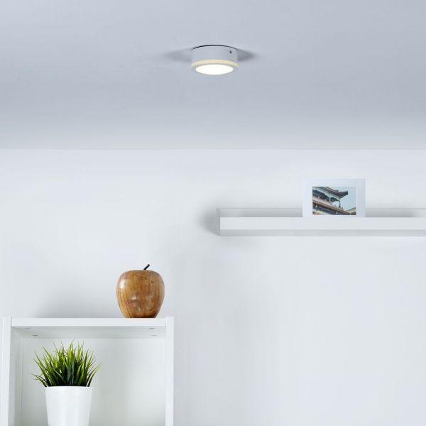 Moderner LED Aufbaustrahler mit Lichtkranz in weiß
