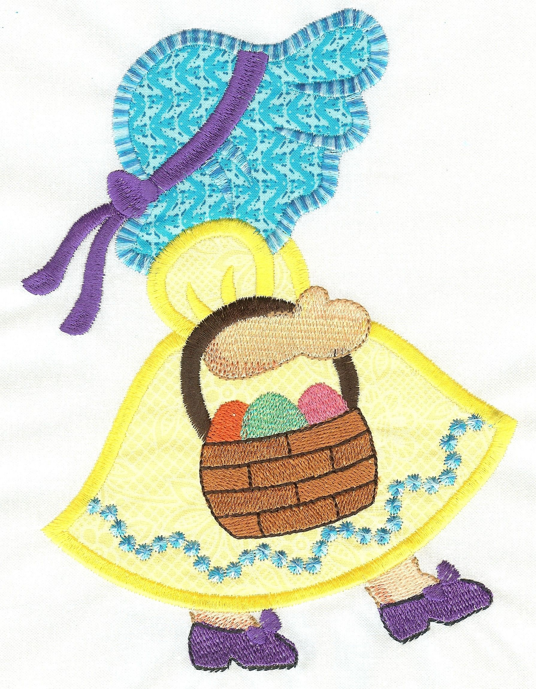 free easter sunbonnet belle applique machine embroidery design embroidery pinterest. Black Bedroom Furniture Sets. Home Design Ideas