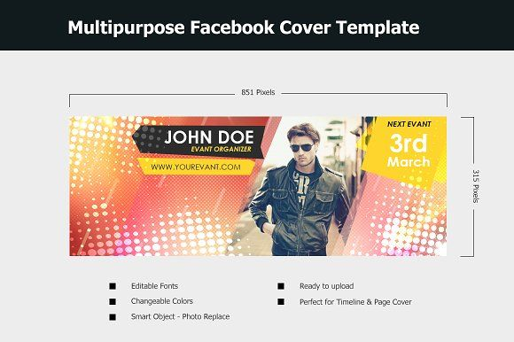 Facebook Cover Template by NasirGrfx on @creativemarket Social - advertising timeline template