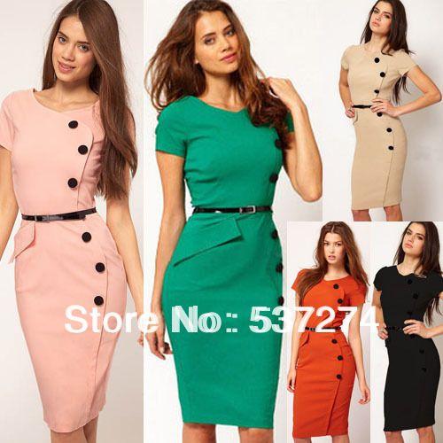 Women Ladies Vintage Button Slim Pencil OL Dress Knee-length Bodycon Sheath Party Wiggle Dress E531 $15.39