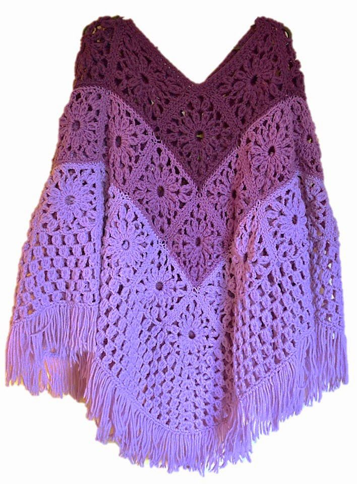 Daisy Granny Square Poncho Free Crochet Pattern | crochet ...